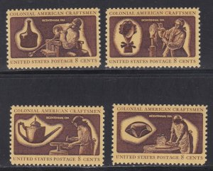 United States # 1456-1459, Colonial Craftsmen, NH, 1/2 Cat.
