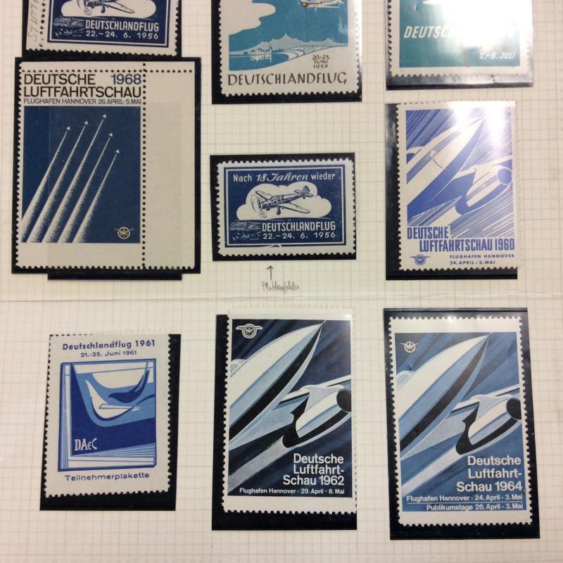 9 German Poster stamps, labels. 1956 to1964 Deutschlandflug Aviation air planes