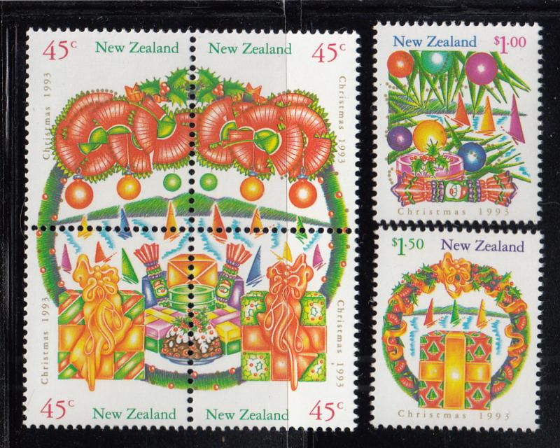 New Zealand 1993 MNH Scott #1164-#1169 Christmas Block of 4, 2 singles