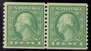 US Stamp #490 Pair 1 Cent Washington Coil MINT NH SCV $2.60