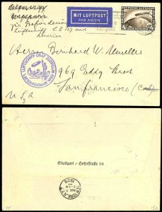 LZ127 GRAF ZEPPELIN SO. AMERICA FLIGHT COVER 1929 GERMANY TO NEW YORK BV2776