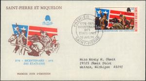 St. Pierre & Miquelon, Worldwide First Day Cover, Americana