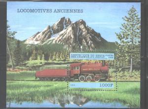 BENIN 1998  TRAINS-LOCOMOTIVE  MS#1068 MNH