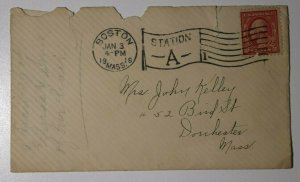 US Sc#406 Used On Cover 1918 Boston MA Station A Flag Cancel