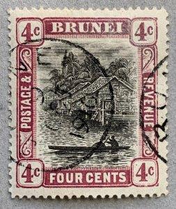 Brunei 1907 4c reddish purple, 9 OCT 1910 cds. Scott #19a, CV $70.00.  SG 26a