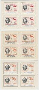 ECUADOR 1949 ROOSEVELT OFFICIAL Bts O266-O273+ FULL SET MINISHEETS OF FOUR MNH