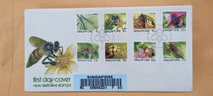 1985 SINGAPORE U/A REGISTERED FDC ON LOW VALUE INSECT SERIES DEFINITIVE