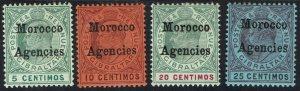 MOROCCO AGENCIES 1903 KEVII 5C - 25C WMK CROWN CA