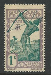 Fr. Guiana # 109  Archer - 1c  1929   (1) VLH Unused