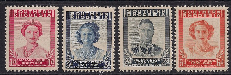 Southern Rhodesia 1947 KGV1 Set 4 Victory stamps Umm SG 64 - 67 ( F73 )
