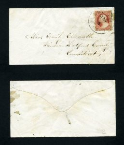 # 26 on cover from Ellington, CT to WIndsor, CT - 5-5-1850's