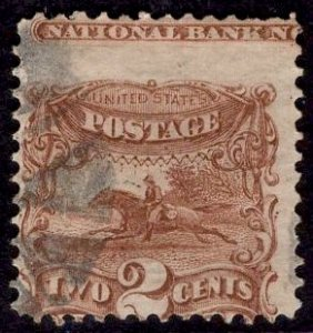 US Stamp #113 Used 2c 1869 Pictorial  SCV $80. Imprint at Top!!