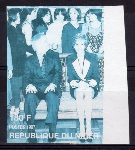 Niger 1997 Sc#944  Princess Diana & Lord Chris Patten Imperf.Missing Color