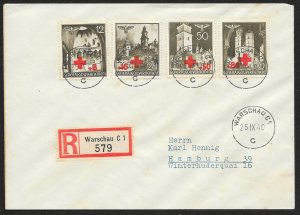 POLAND Sc#NB1-4 Registered Cover canceled 1940 Warsaw to Hamburg