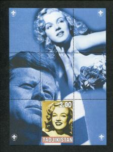 2000 Tajikistan Commemorative Souvenir Stamp Sheet - Marilyn Monroe & JFK
