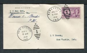 Postal History - Newcastle IN 1938 Numeral Duplex Cancel Cover B0381