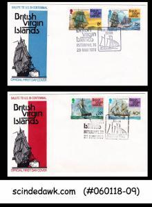 BRITISH VIRGIN ISLANDS  1976 U.S. BICENTENNIAL / VINTAGE SHIPS - SET OF 2 FDCs