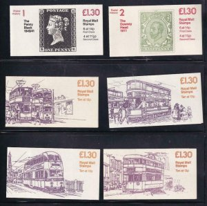 GB BK # 524-525 VF-MNH  6 DIFFERENT COVERS BOOKLETS PO FRESH CAT VALUE $41+