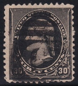 US STAMP #228 – 1890 30c Jefferson, black used stamp crease