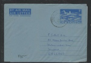LESOTHO COVER (PP2004B) 9C AIRPLANE AEROGRAM SENT TO ENGLAND