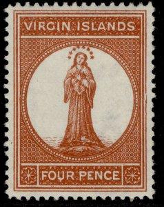 BRITISH VIRGIN ISLANDS QV SG37, 4d brown-red, LH MINT. Cat £45.
