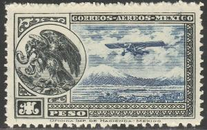 MEXICO C17, $1P Early Air Mail Plane and coat of arms MINT, NH. F-VF.