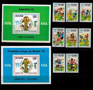 ZAIRE Sc# 872-881 MNH FVF Set8 + 2 SS 1978 Soccer Games