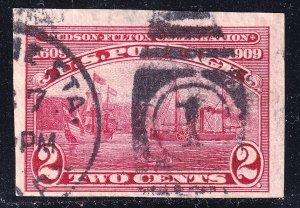 US STAMP #373 1909 2¢ Hudson-Fulton Celebration Imperforate used stamp