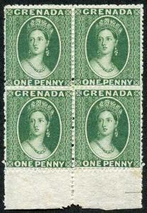 GRENADA SG2 1861-62 1d green lower marginal block of 4 Great Colour M/Mint