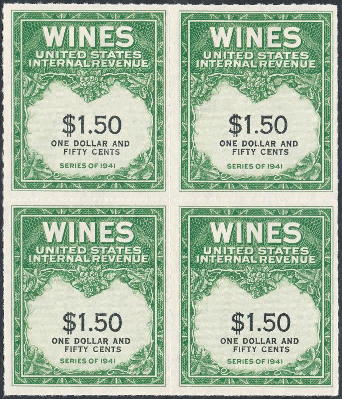 #RE148 $1.50 WINE STAMPS SERIES 1941 BLOCK OF 4 CV $600.00 BL