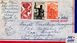 French Equatorial Africa 1F Mountainous Shore Line, 10F Niger Boatman, and 20...