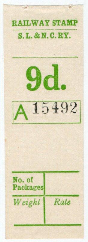 (I.B) Sligo Leitrim & Northern Counties Railway : Parcel Stamp 9d