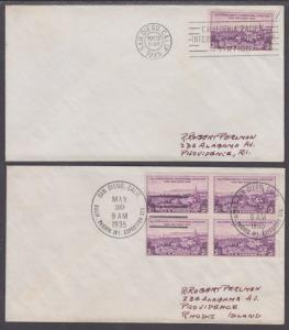 US Sc 773 FDCs. 1935 3c California Pacific Int'l Expo, 2 diff First Day Cancels