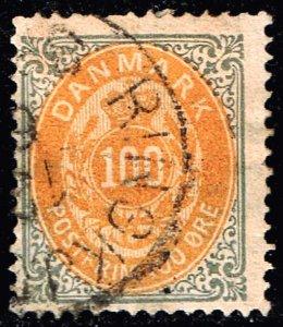 DENMARK STAMP 1877 Royal Emblem - Value in ØRE 100Øre grey/yellow USED $95