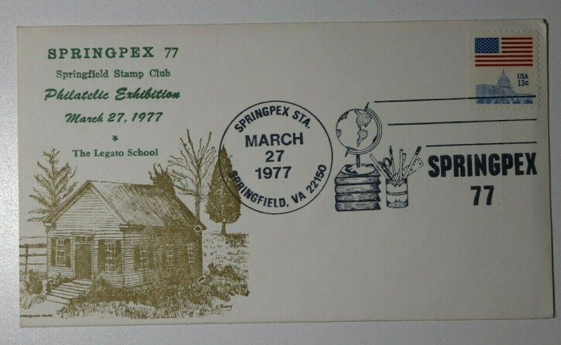 SPRINGPEX Legato School Springfield VA 1977 Philatelic Expo Cachet Cover