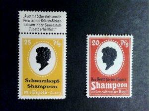 German Poster Stamp -Schwarzkopf Shampoo Advertisement Stamps