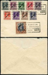 Pakistan KGVI Local Overprints on Indian Stamps on Cover