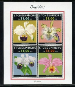 SAO TOME 2021 ORCHIDS  SHEET MINT NEVER HINGED