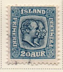 Iceland Sc 79 1907 20 aur blue 2 Kings stamp used