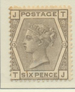 Great Britain Stamp Scott #62 Plate #13, Mint Hinged, Half Original Gum - Fre...