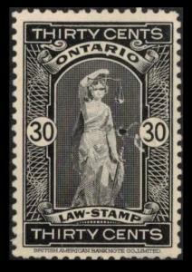 ONTARIO REVENUE TAX 1929 SCARCE VINTAGE 30c BLACK #OL70  USED LAW STAMP SEE SCAN