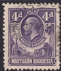 Northern Rhodesia 1925 - 29 KGV 4d Violet used SG 6 ( 1423 )