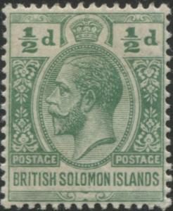 Solomon Islands 1913 SG18 ½d green KGV MH