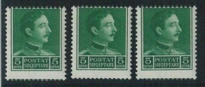 78369 -  ALBANIA - STAMPS -  set of 3 stamps with ERRORS : Shifted perforation