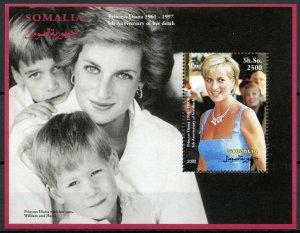 Somalia Royalty Stamps 2002 MNH Princess Diana Prince Harry William 1v S/S I