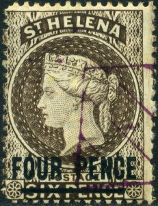 ST HELENA 1884 QV 4d Pale Brown Used 16 1/2 mm SG43