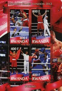 Rwanda Boxing Sport Olympic Games London 2012 Souvenir Sheet of 4 Stamps Mint NH