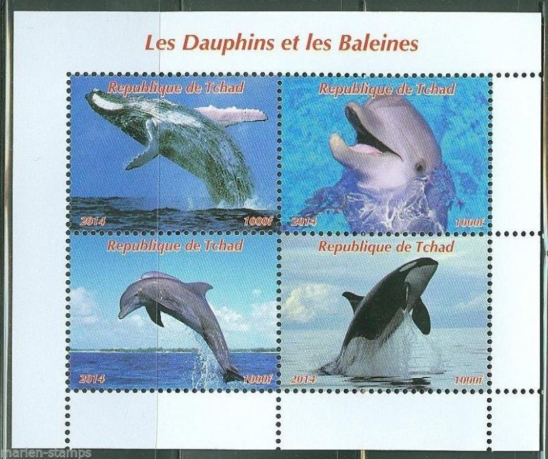 CHAD 2014 DOLPHINS & WHALES SHEET OF FOUR IMPERFORATED  MINT NH