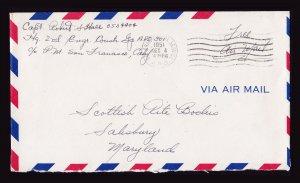 1951 KOREAN WAR SOLDIERS FREE MAIL U.S. ARMY POSTAL SERVICE APO 301 KOREA TO MD