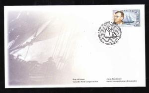 Canada-Sc#1738-stamp on FDC-Sailing Ships-The Bluenose-Stamp on Stamp-1998-
